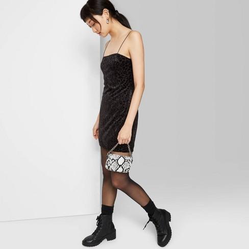 Women's Animal Print Sleeveless Square Neck Flocked Velvet Mini Dress - Wild Fable™ Black - image 1 of 3