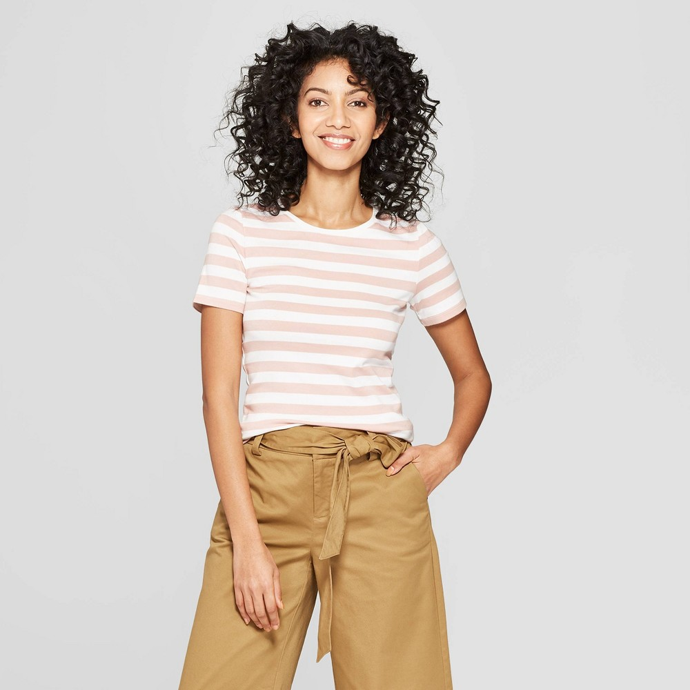 Women's Striped Short Sleeve Crew Neck T-Shirt - A New Day Smoked Pink/White XS
