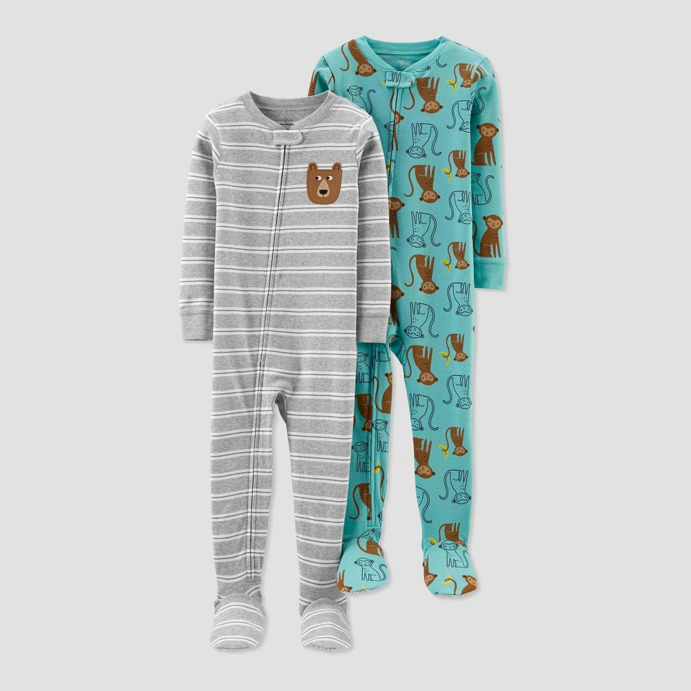 Image of Baby Boys' Bear & Monkey 100% Cotton Footed Pajama - Just One You made by carter's Blue 9M, Boy's, Gray