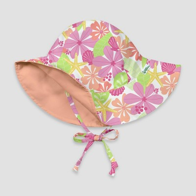 i play by green sprouts Baby Girls' Floral Reversible Brim Swim Hat - White /Coral 0-6M