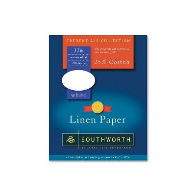 Southworth 25% Cotton Linen Business Paper 32 lbs. 8-1/2 x 11 White 250/Box J558C