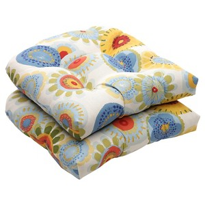 Outdoor 2-Piece Wicker Chair Cushion Set - Blue/White/Yellow Floral