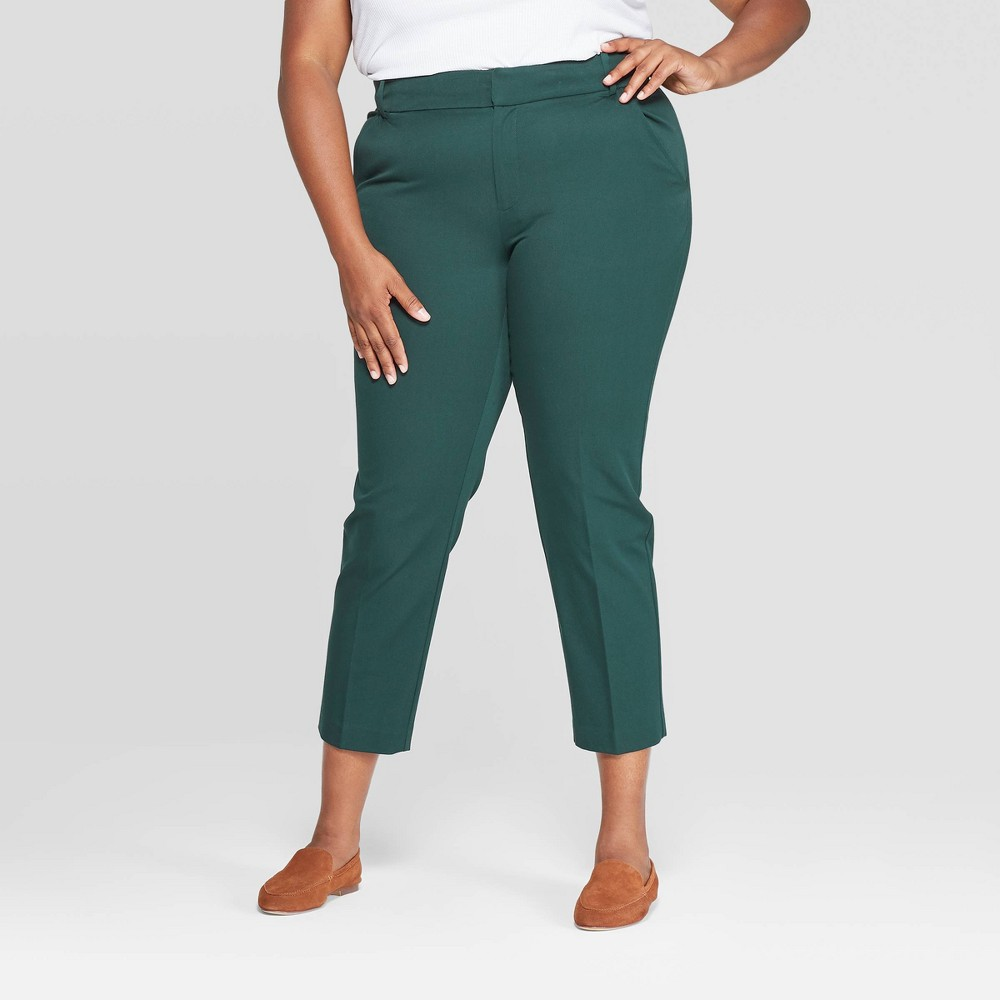 Image of Women's Plus Size Ankle Pants With Comfort Waistband - Ava & Viv Dark Green 16W