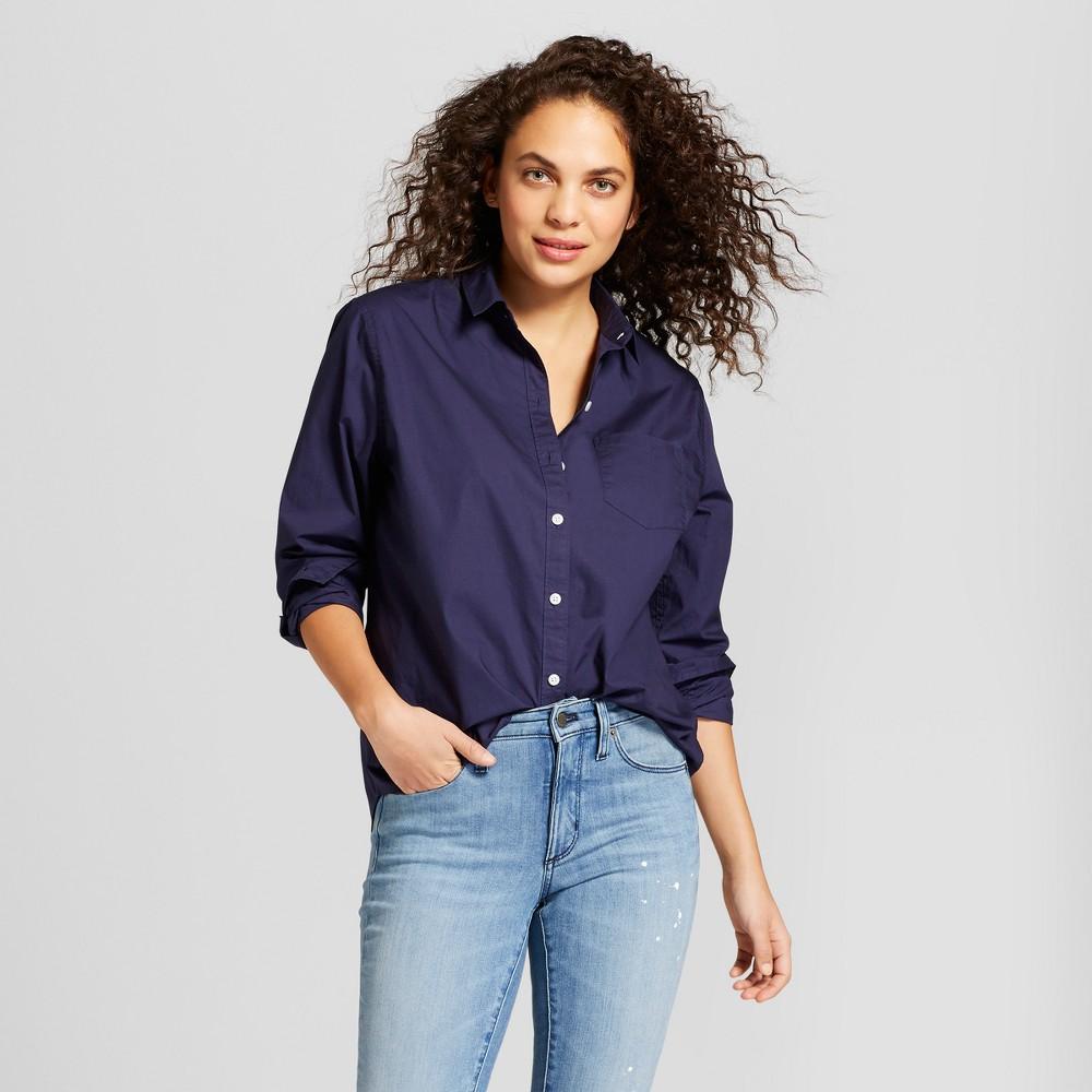Women's Long Sleeve Alamosa Poplin Shirt - Universal Thread Navy (Blue) XL