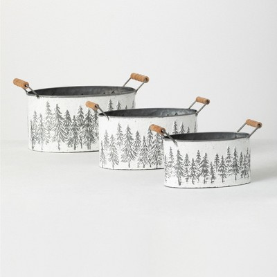 """Sullivans Metal Tree Planters with Handles Set of 3, 7.5""""H, 6.25""""H & 5.5""""H White"""