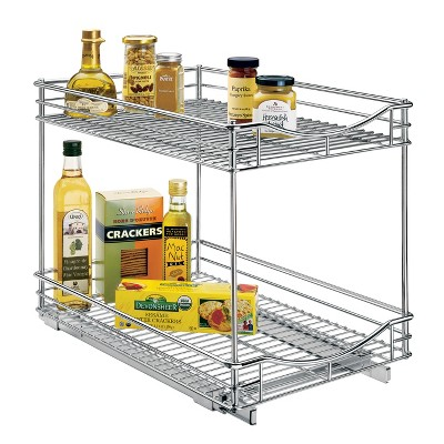 Lynk Professional 14  x 21  Slide Out Double Shelf - Pull Out Two Tier Sliding Under Cabinet Organizer