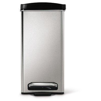 simplehuman 10 Liter Step-On Trash Can - Brushed Stainless Steel with Black Plastic Lid, Silver
