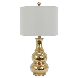 Harper Ceramic Table Lamp Gold (Includes Energy Efficient Light Bulb) - Decor Therapy