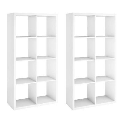 ClosetMaid 4583 Bookcase Open Back 8-Cube Storage Organizer, White (2 Pack)