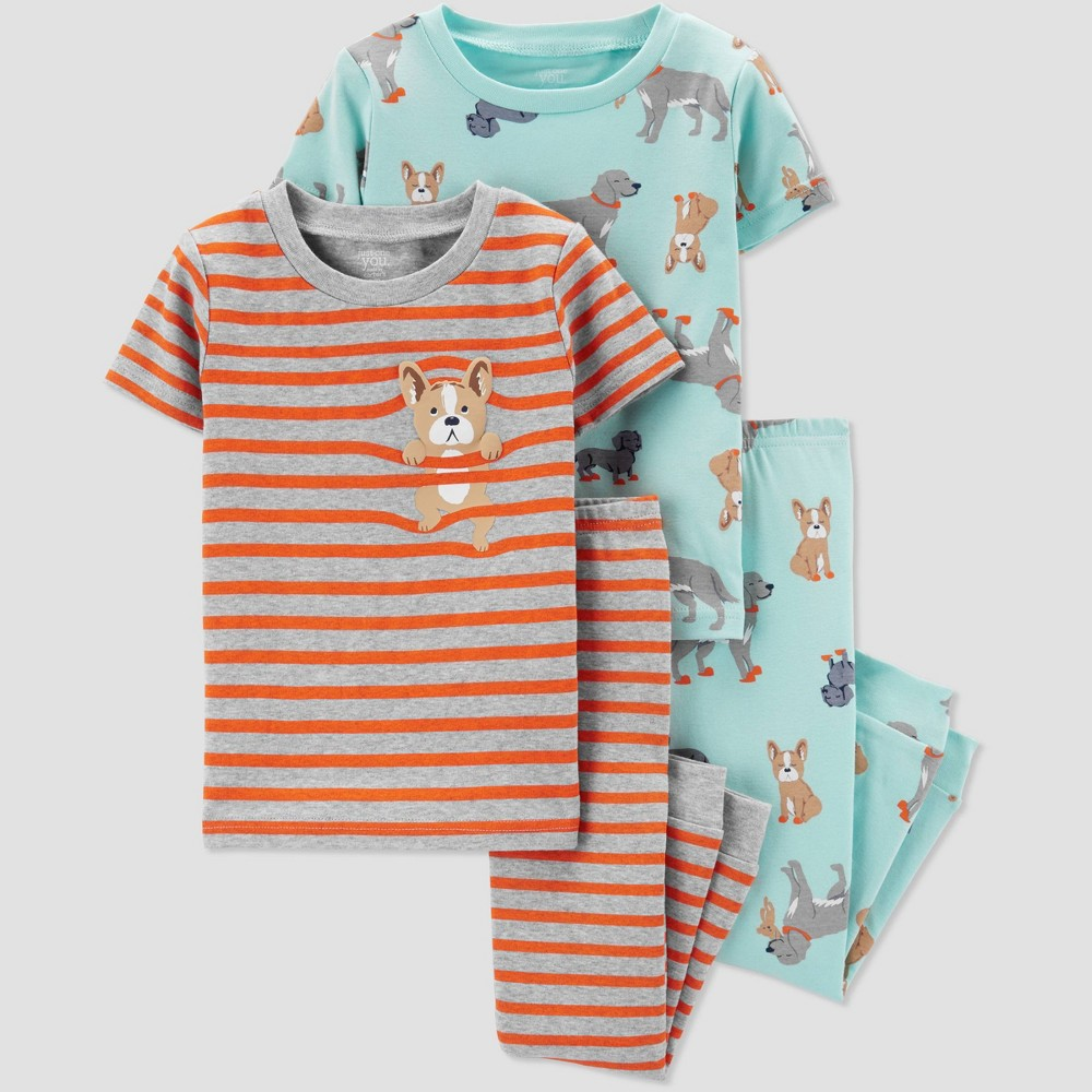 Toddler Boys' 4pc Stripe Dog Pajama Set - Just One You made by carter's Blue/Orange Juice 4T