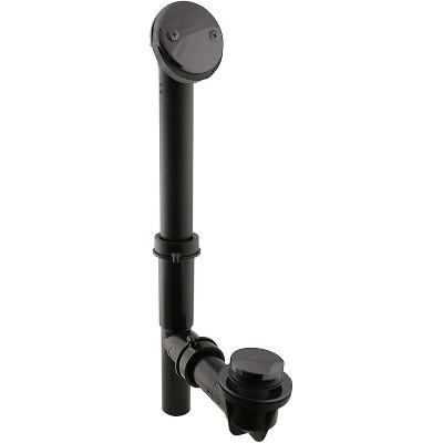 Westbrass 593144 Tubular Polymer Metal 1.5 Inch Diameter Waste Overflow and Tiptoe Shower Bath Drain, Matte Black