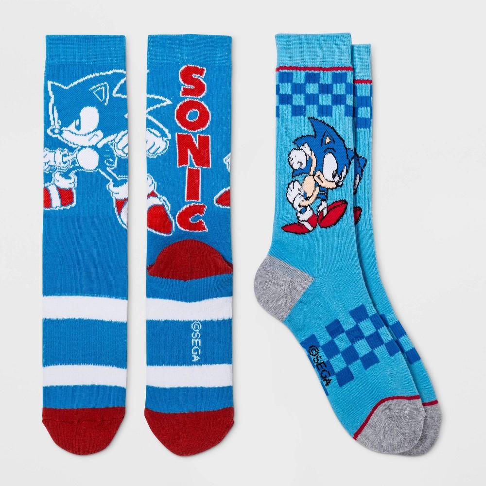 Image of Men's Sonic the Hedgehog 2pk Crew Socks - Blue One Size, Men's