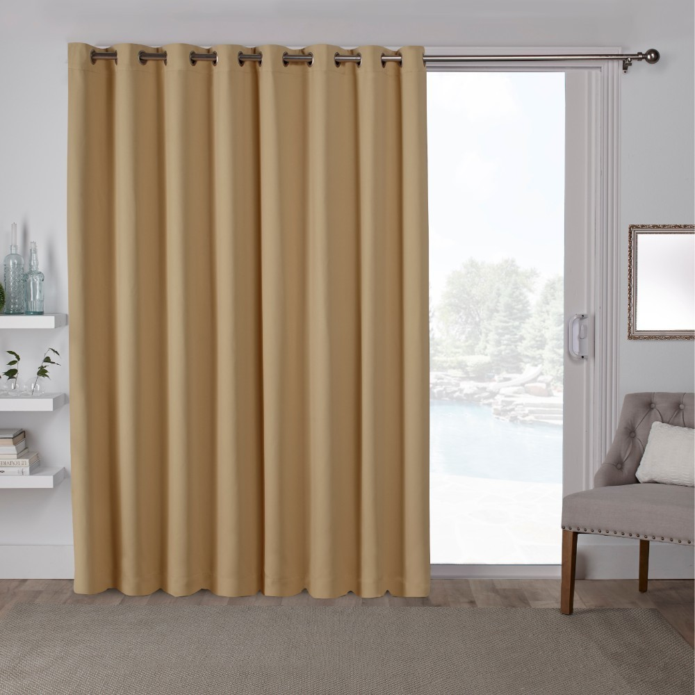 "Image of ""100""""x84"""" Sateen Blackout Solid Grommet Top Extra Wide Curtain Panel Yellow - Exclusive Home"""