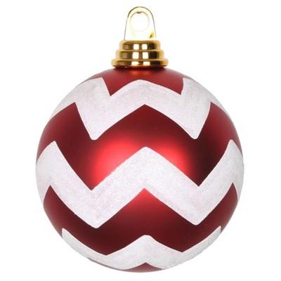 Vickerman Matte Chevron Ball Christmas Ornament