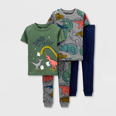 Toddler Boys' 4pc Dino Pajama Set - Just One You® made by carter's Gray/Green/Navy