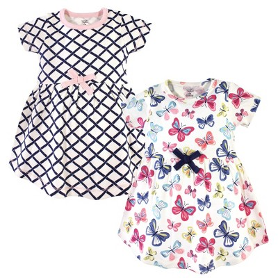 Touched by Nature Baby and Toddler Girl Organic Cotton Short-Sleeve Dresses 2pk, Bright Butterflies