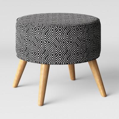 Riverplace Round Cone Leg Ottoman Black & White - Project 62™