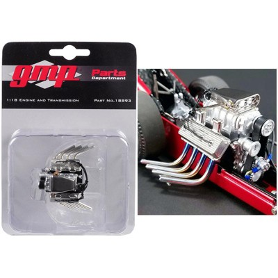 """Engine and Transmission Pack Replica from """"Tommy Ivo's Barnstormer"""" Vintage Dragster 1/18 Model by GMP"""