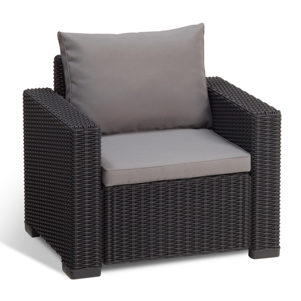 California Outdoor Resin Patio Armchair with Cushions Graphite (Grey) - Keter