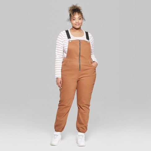 ce379728aba Women s Plus Size Strappy Zip Front Overall Jumpsui   Target