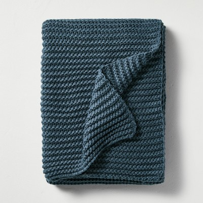 Chunky Knit Throw Blanket Blue - Hearth & Hand™ with Magnolia