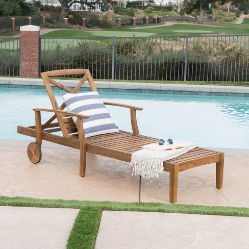 2805a055ab1 Perla Acacia Chaise Lounge - Teak - Christopher Knight Home   Target