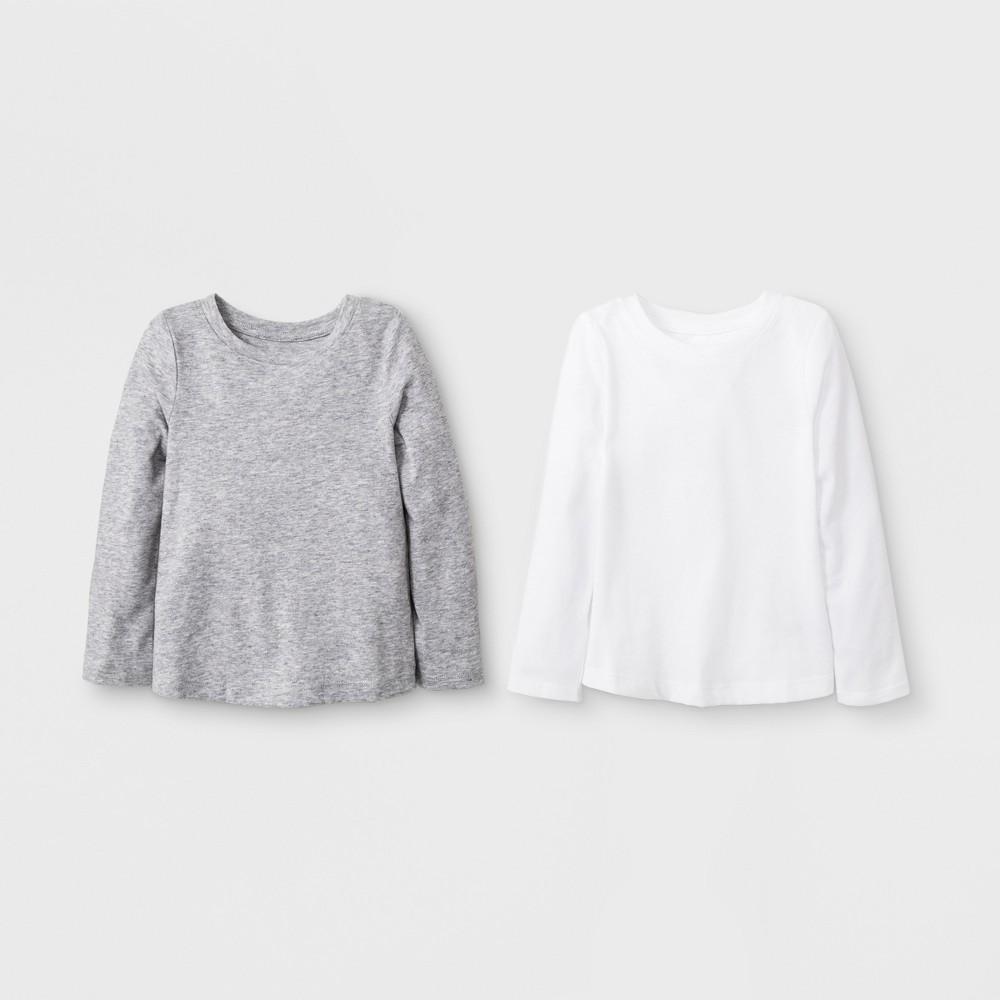 Toddler Girls' 2pk Long Sleeve T-Shirt Set - Cat & Jack White/Gray 12M