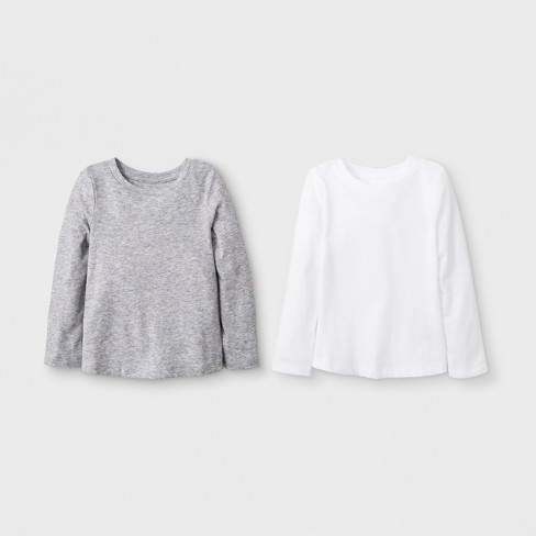f964917a3 Toddler Girls  2pk Long Sleeve T-Shirt Set - Cat   Jack™ White Gray ...