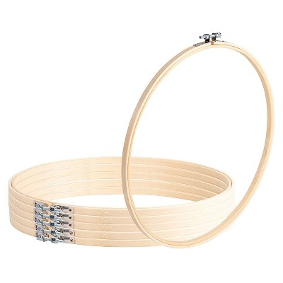 Embroidery Hoop - 6-Piece Large Cross Stitch Hoop, 11.6-Inch Adjustable Bamboo Circle, for Sewing, Quilting, Needlework, DIY Craft