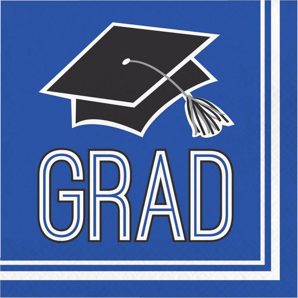 Image of 108ct Graduation School Spirit Disposable Napkins Blue