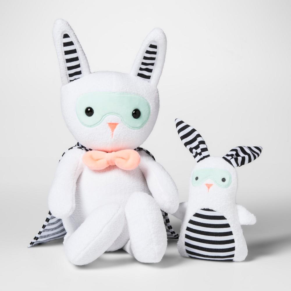Plush with Rattle Superhero Bunny - Cloud Island White