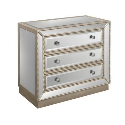 Grable Glam 3 Drawer Mirrored Chest Champagne - Treasure Trove Accents