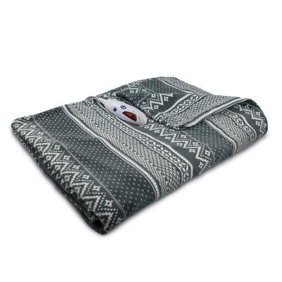 Extra-Long Microplush Electric Throw Blanket (72 x50 )Gray & White Fair Isle - Biddeford Blankets