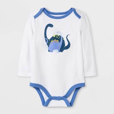 Baby Boys' Long Sleeve Dinosaur Lap Shoulder Bodysuit - Cat & Jack™ White 6-9M