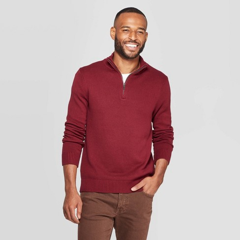 Men's Casual Fit Turtleneck 1/4 Zip Long Sleeve Pullover Sweater - Goodfellow & Co™ - image 1 of 3