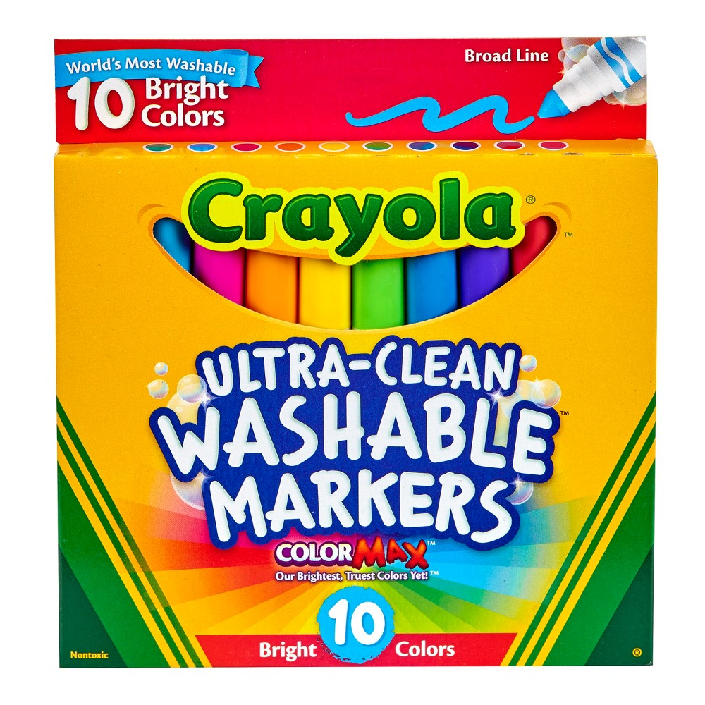 Crayola Ultra-Clean Markers Broad Line Washable 10ct Bright, Bright Colors