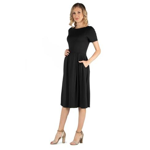 24seven Comfort Apparel Women's Maternity Midi Dress - image 1 of 4