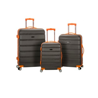 Rockland Melbourne 3pc Expandable ABS Spinner Luggage Set - Charcoal