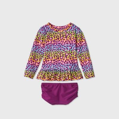 Toddler Girls' 2pc Rainbow Leopard Print Long Sleeve Rash Guard Set - Cat & Jack™ Purple