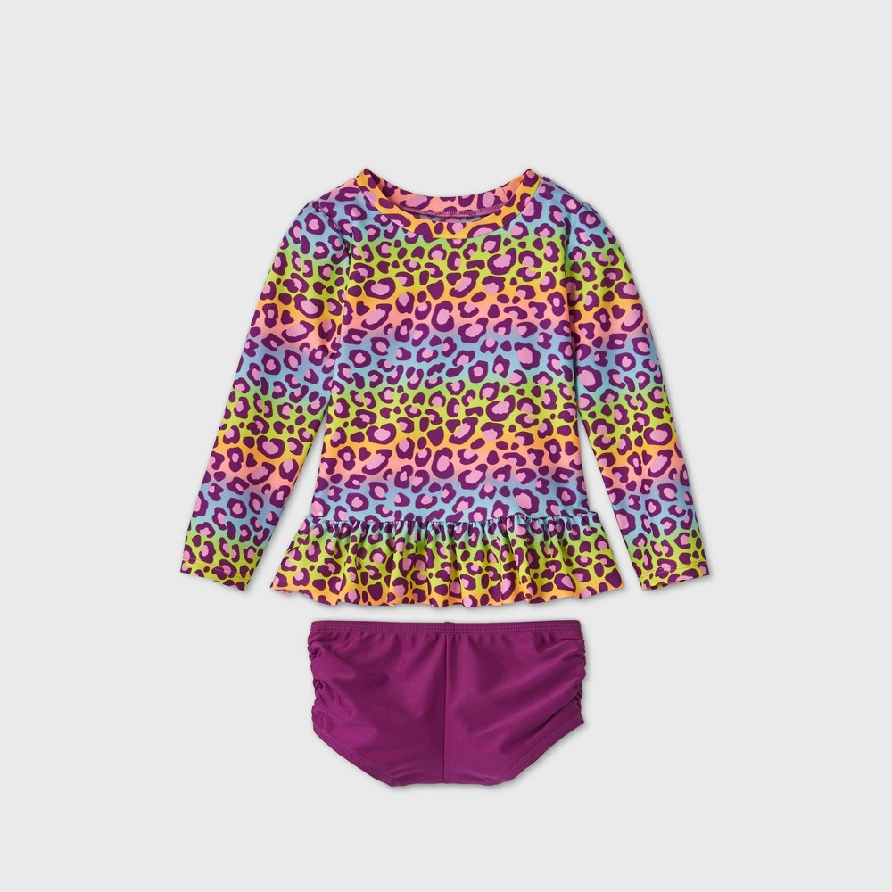 Toddler Girls 39 2pc Rainbow Leopard Print Long Sleeve Rash Guard Set Cat 38 Jack 8482 Purple 4t