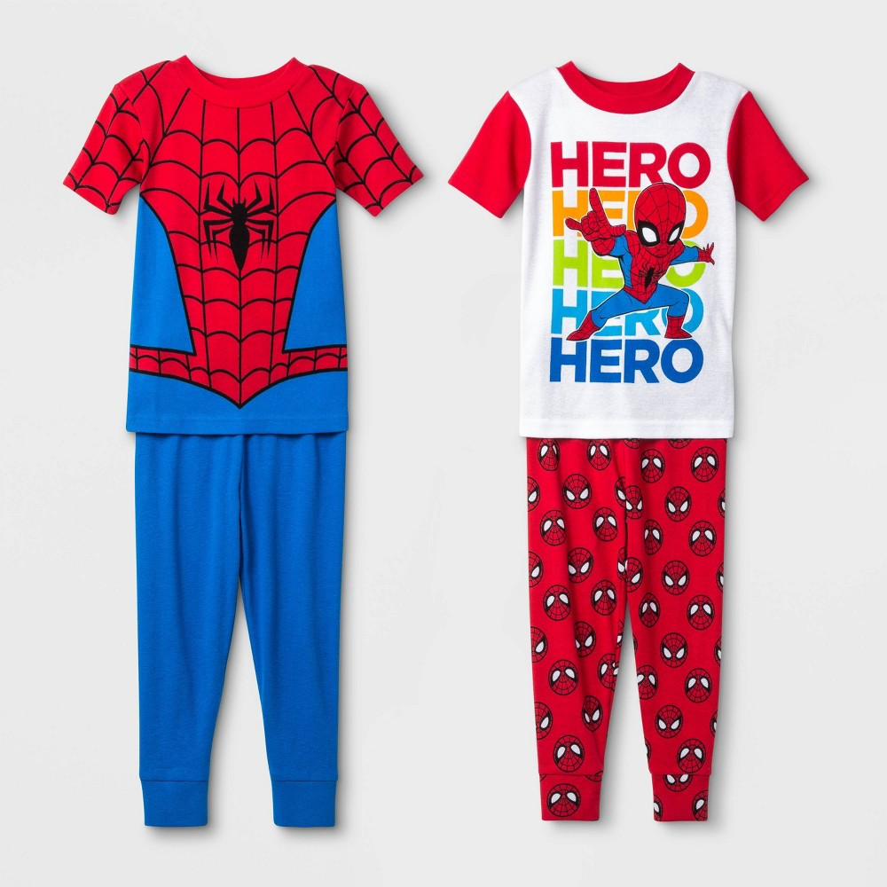 Image of Baby Boys' 4pc Spider-Man Pajama Set - Red 18M, Boy's