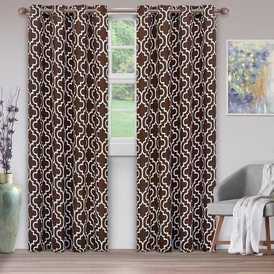 Geometric Trellis Thermal Room Darkening Blackout Grommet Curtain Panels by Blue Nile Mills