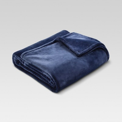 Microplush Bed Blanket King Metallic Blue - Threshold™