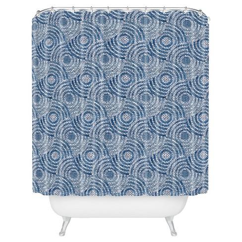 Circle Waves Shower Curtain Blue - Deny Designs® - image 1 of 4