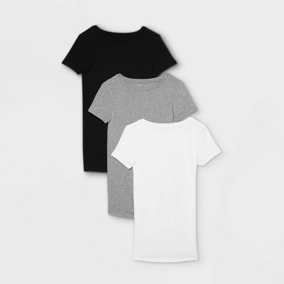 Maternity Short Sleeve Non-Shirred 3pk Bundle T-Shirt - Isabel Maternity by Ingrid & Isabel™ Black/White/Gray