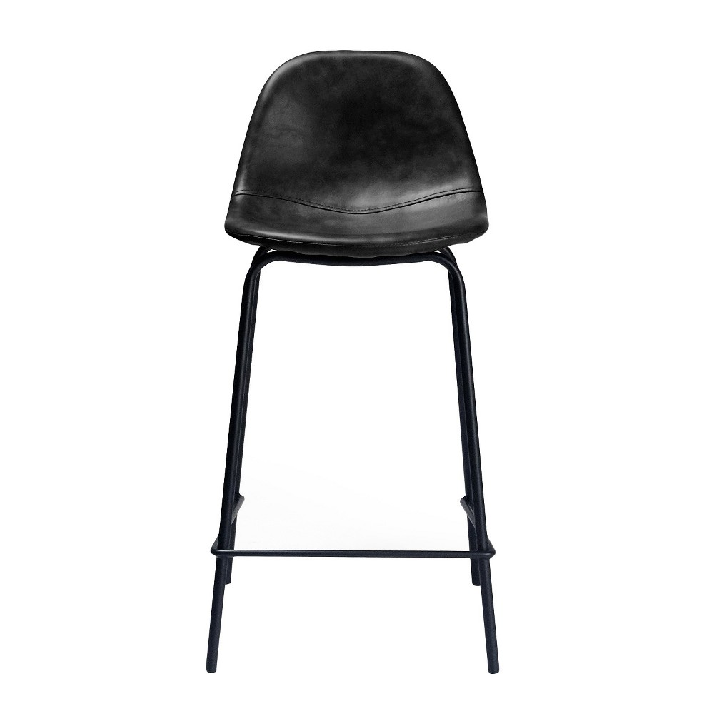 Set Of 2 Maxine Modern Upholstered Faux Leather Counter Height Barstool Charcoal Aeon