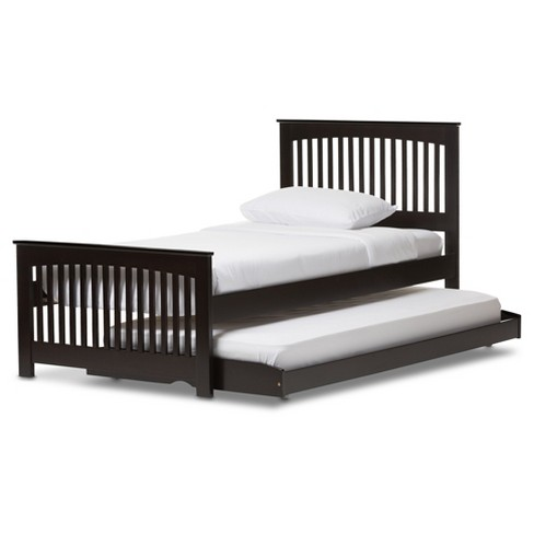 Hevea Solid Wood Platform Bed With Guest Trundle Bed - Twin - Dark ...