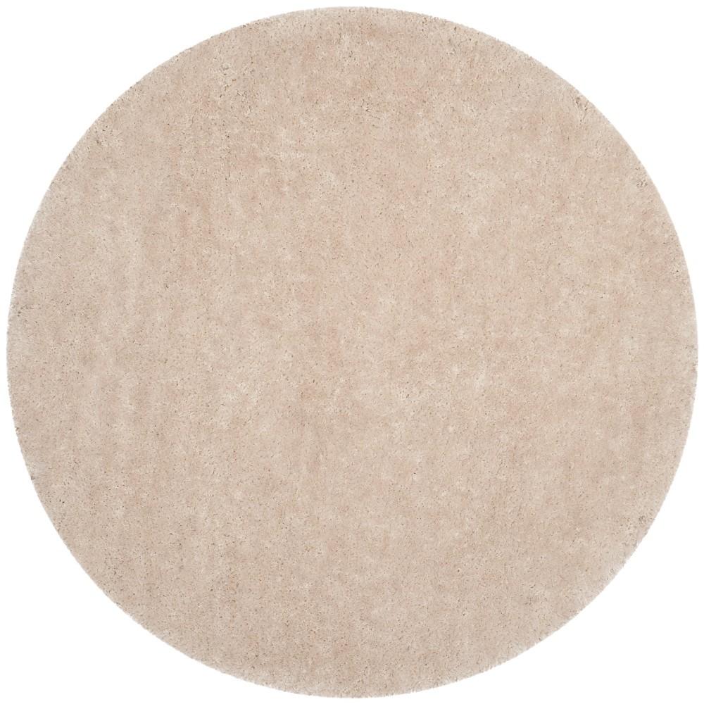 8' Solid Tufted Round Area Rug Bone/Light Gray (Ivory/Light Gray) - Safavieh