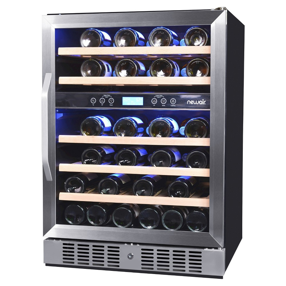 NewAir 46 Bottle Dual Zone Built-In Compressor Wine Cooler – Stainless Steel (Silver) Awr-460DB 50149446
