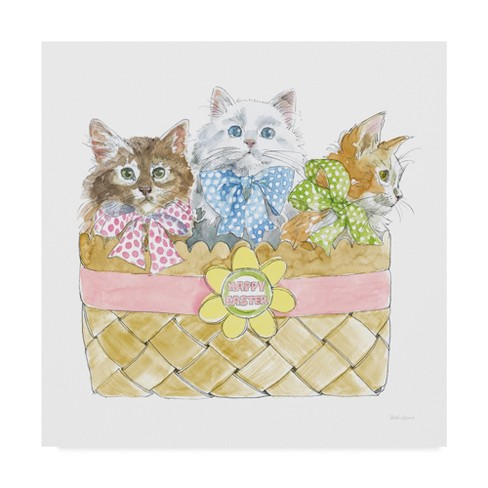 "Trademark Fine Art 18"" x 18"" Beth Grove 'Easter Kitties I' Canvas Art - image 1 of 3"